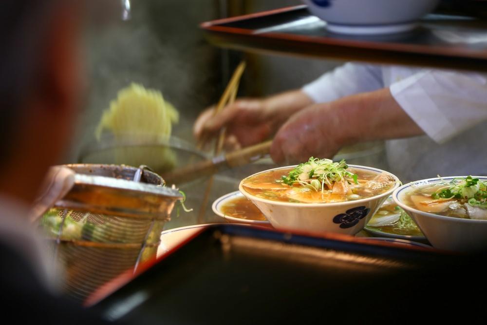Japanese sushi food shop at Tsukiji Fish Market
