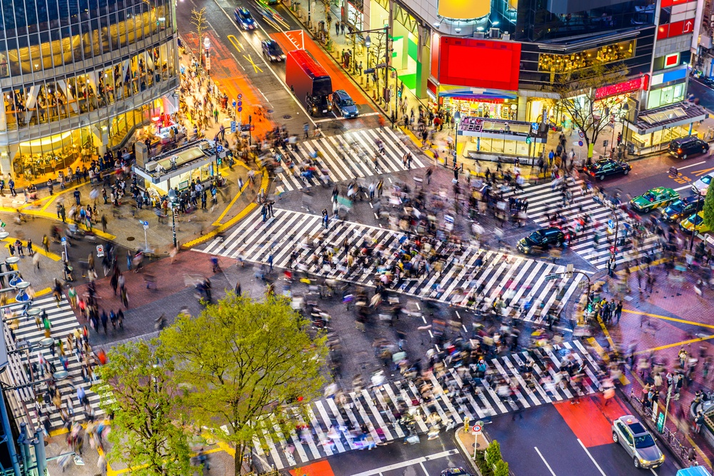 Tokyo, Japan view of Shibuya Crossing, one of the busiest crosswalks in the worl